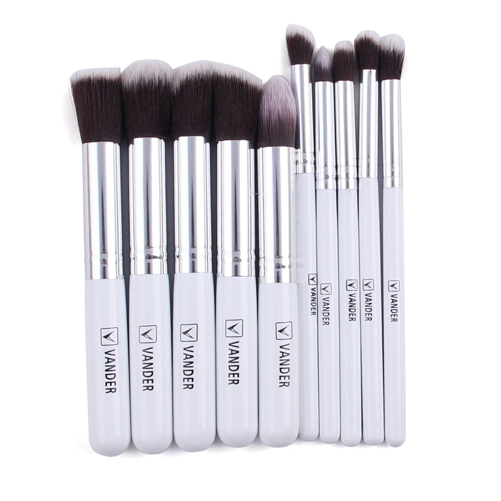 Vander 10 Sätze Make-up Pinsel Set Gold Tube weiß – Silber