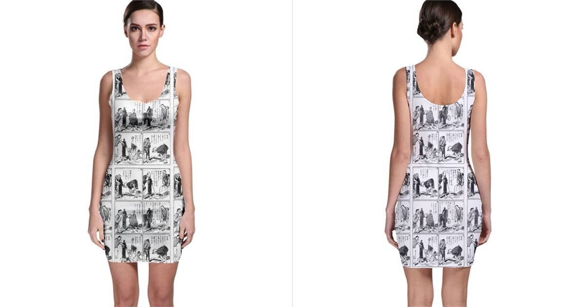 8b2a828e06eab Old Comic Strip Sleeveless Bodycon Dress 40% Off With Free Shipping ...