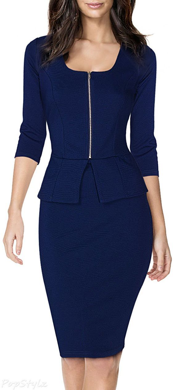 6f53a0086d MIUSOL Square Neck Fitted Business Casual Bodycon Dress