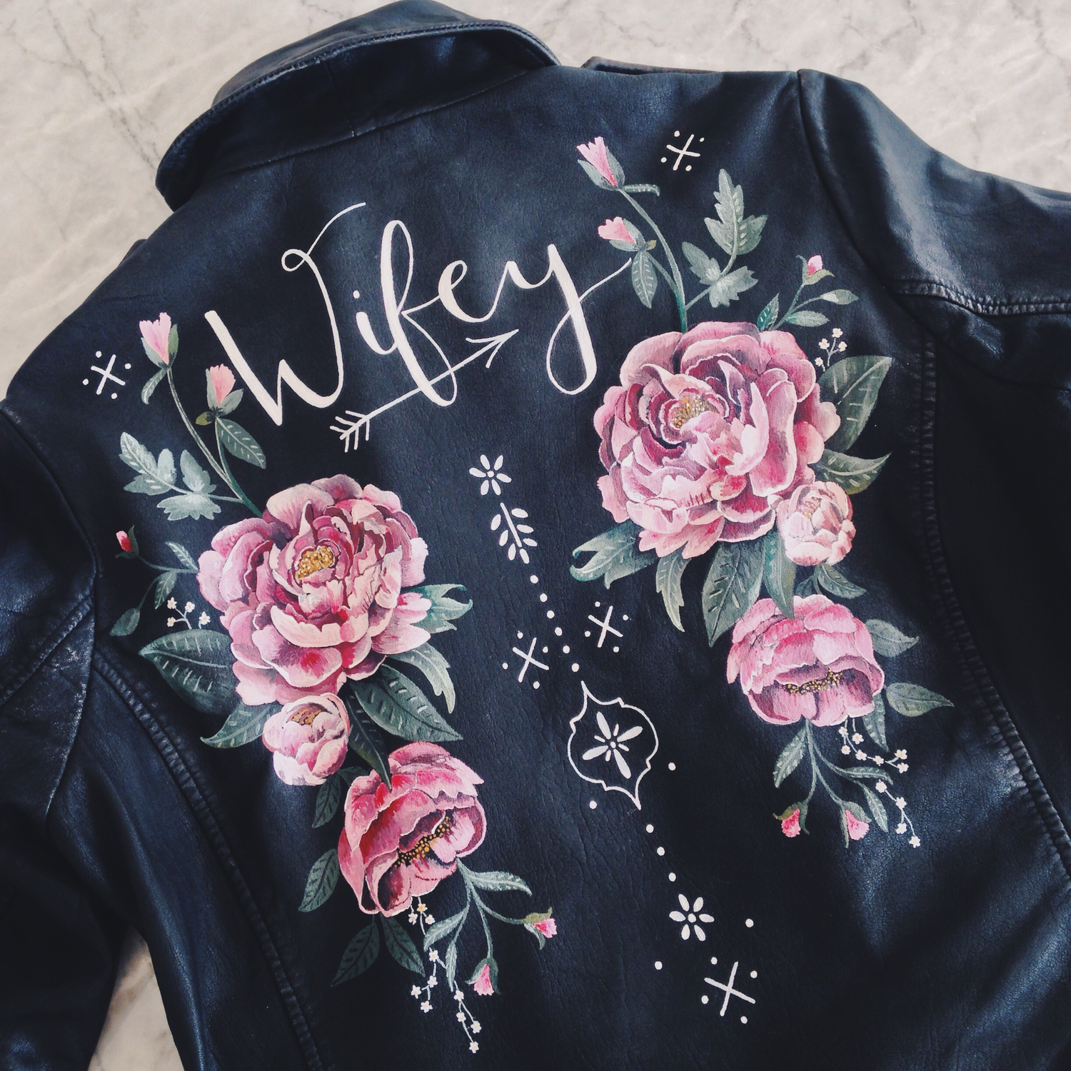Custom Hand Painted Leather Jacket By Wolf And Rosie