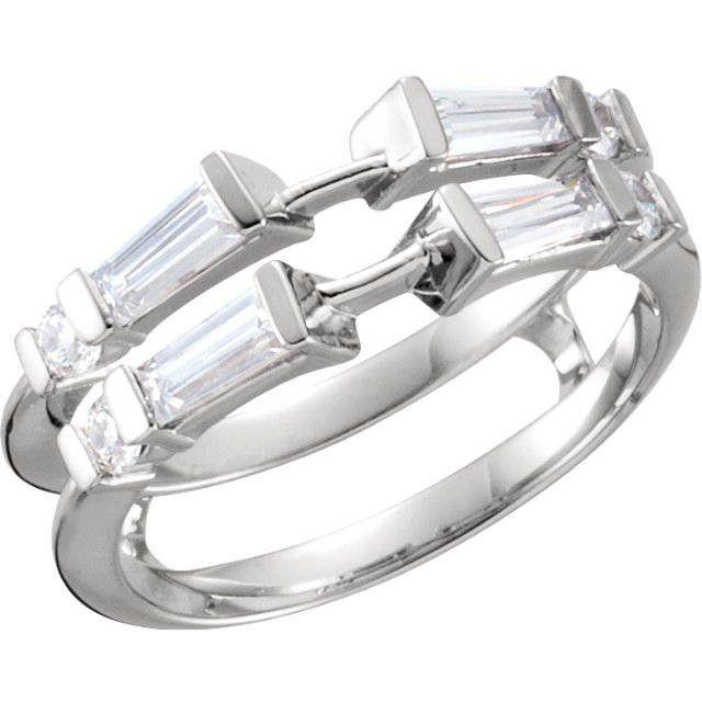 Platinum 12ct Baguette and Round Diamond Solitaire Enhancer