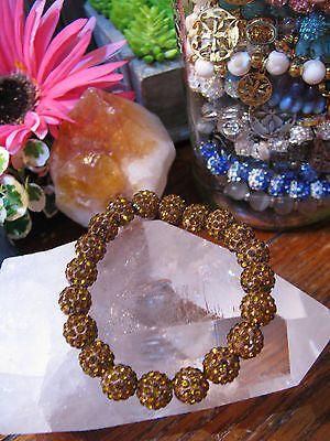 "New 8"" Dark Gold Topaz Shimmer Stack Cuff Shamballa Crystal Ball Rustic Bracelet"