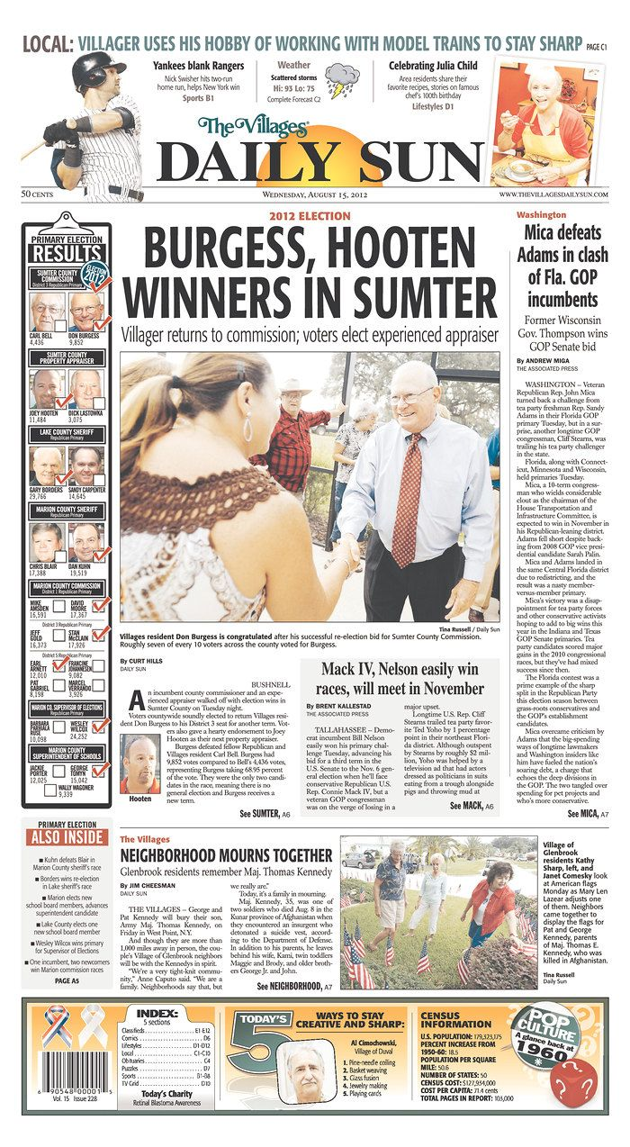 Newseum Today's Front Pages The Villages Daily Sun