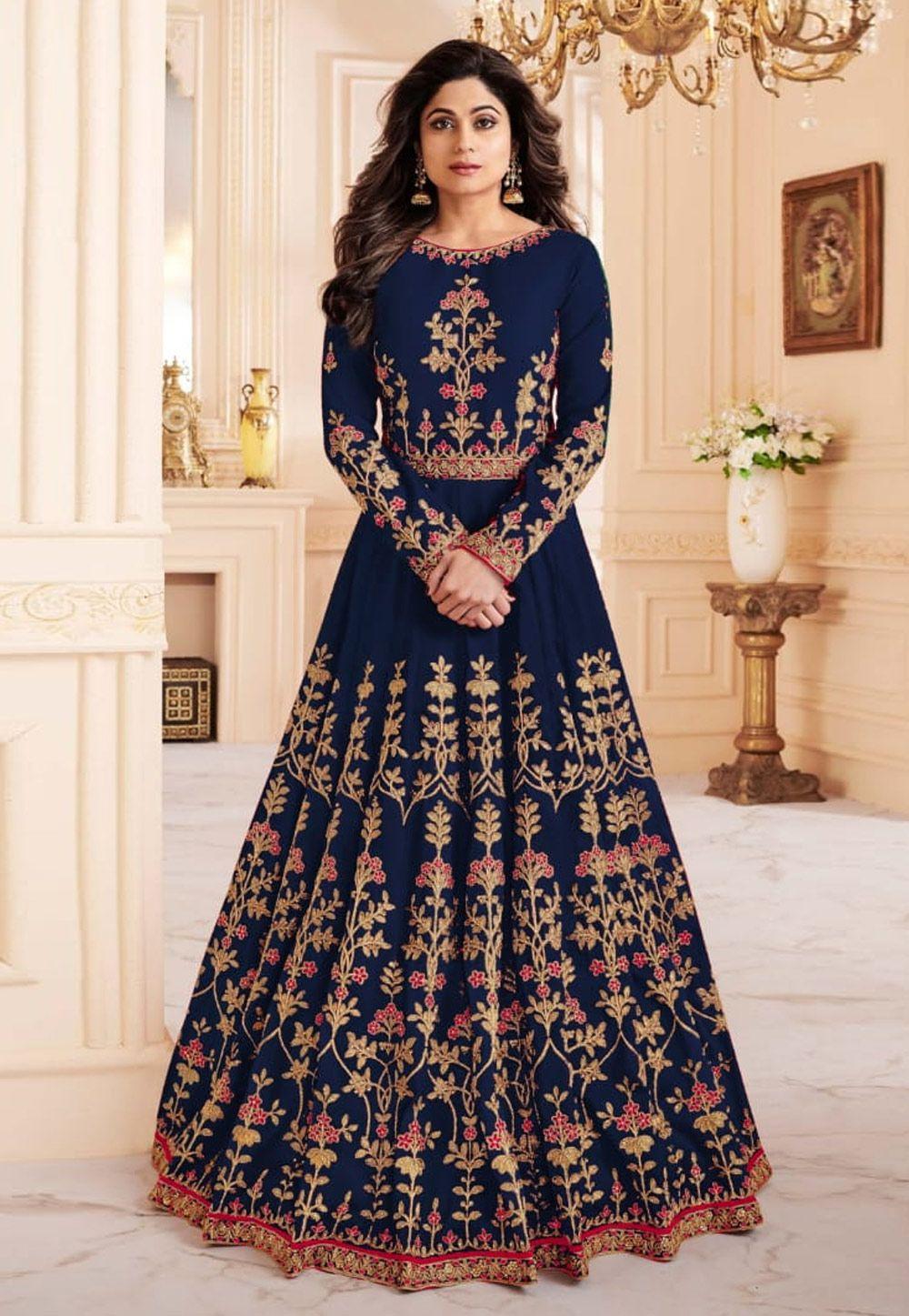 83922486d9 Buy Shamita Shetty Navy Blue Silk Floor Length Anarkali Suit 163633 online  at lowest price from huge collection of salwar kameez at  Indianclothstore.com.