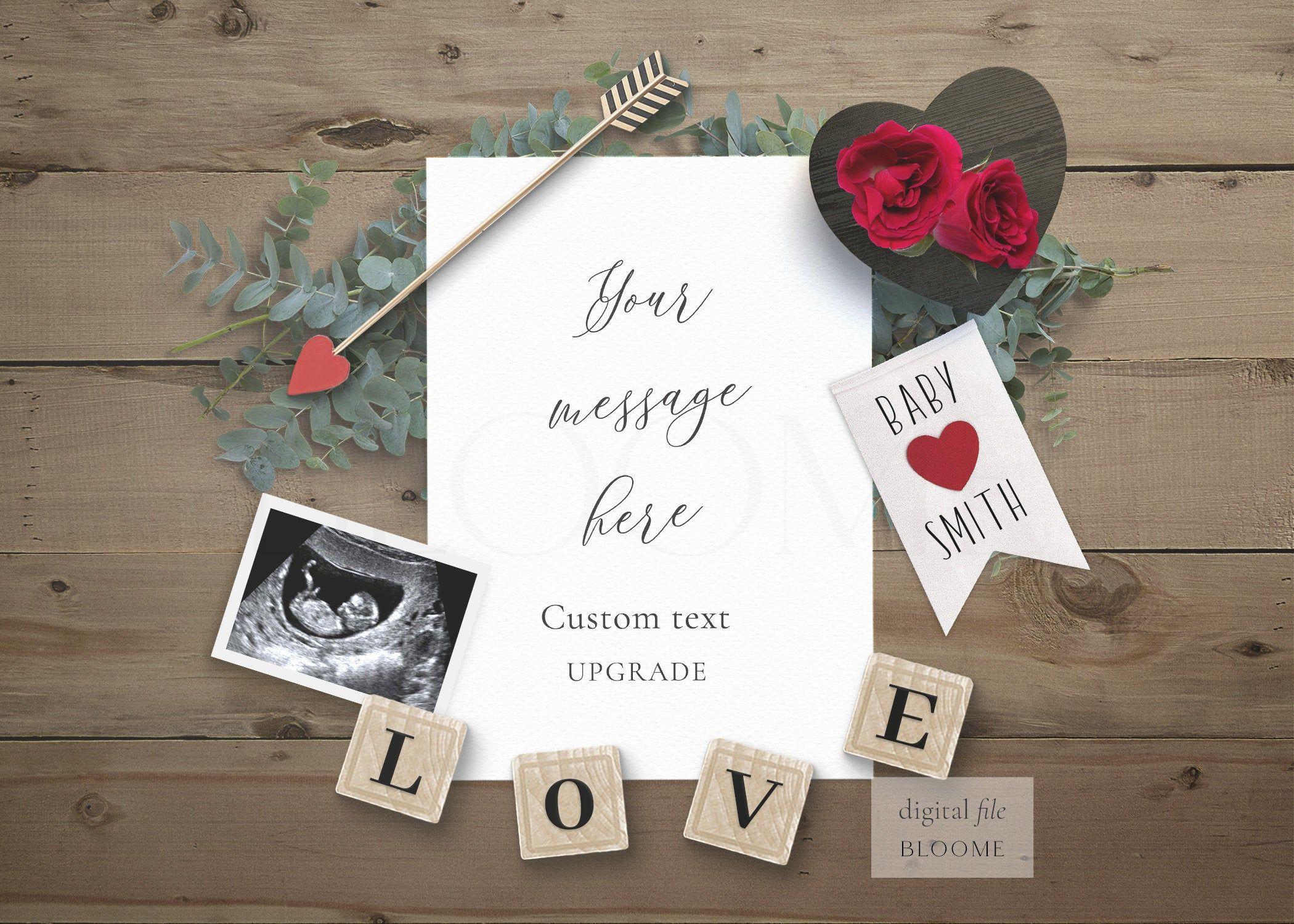 Social Media Baby Announcement Digital Pregnancy Reveal EDITABLE Template Instant Download.IG188 Rose Wreath Pregnancy Announcement