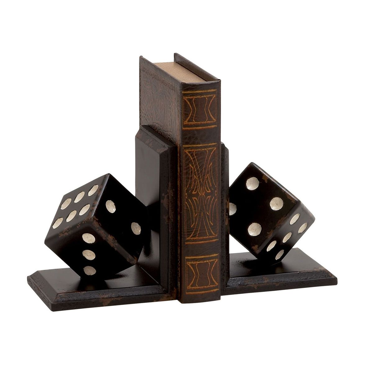 Play up your love of books and add a touch of casino-inspired character with the Play On Bookends. With the look of distressed wood, the polyresin pair feature angled dice, perfect for any luxe lounge ...  Find the Play On Bookends, as seen in the It's a Wonderful Mid-Century Life Collection at http://dotandbo.com/collections/its-a-wonderful-mid-century-life?utm_source=pinterest&utm_medium=organic&db_sku=104521