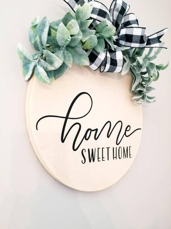 """Photo of Home sweet home hoop wreath, farmhouse, wall decor, country, cottage, embroidery hoop, 12 """""""