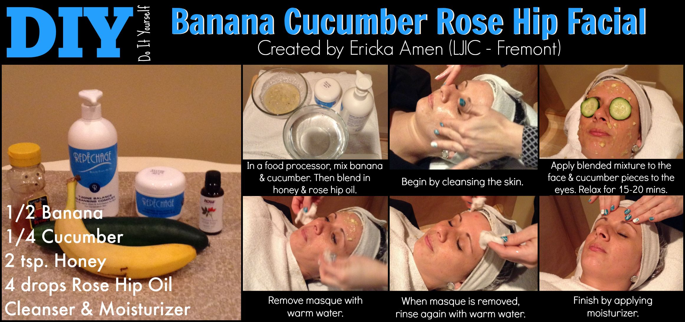 Check out today's Tues-Torial the Banana Cucumber Rose Hip Facial created by Ericka A. from #LJIC - Fremont! Great job Ericka & thanks for participating in today's #LJICtuesTorial! www.ljic.edu #LjicFRM  For a closer look at the products used visit,  http://ljic1.tumblr.com/post/113263092881/diy-banana-cucumber-rose-hip-facial www.facebook.com/lajamesinternational