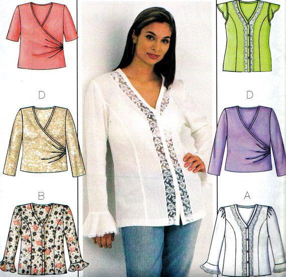 Womens Blouse Pattern Butterick 3784 Lace Blouse or Mock Wrap Blouse ...
