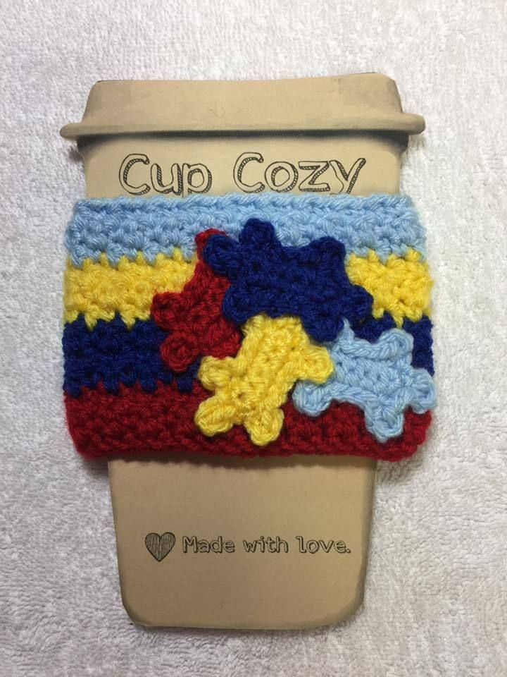 Autism awareness ribbon puzzle Crochet cup coffee cozy mug water can ...