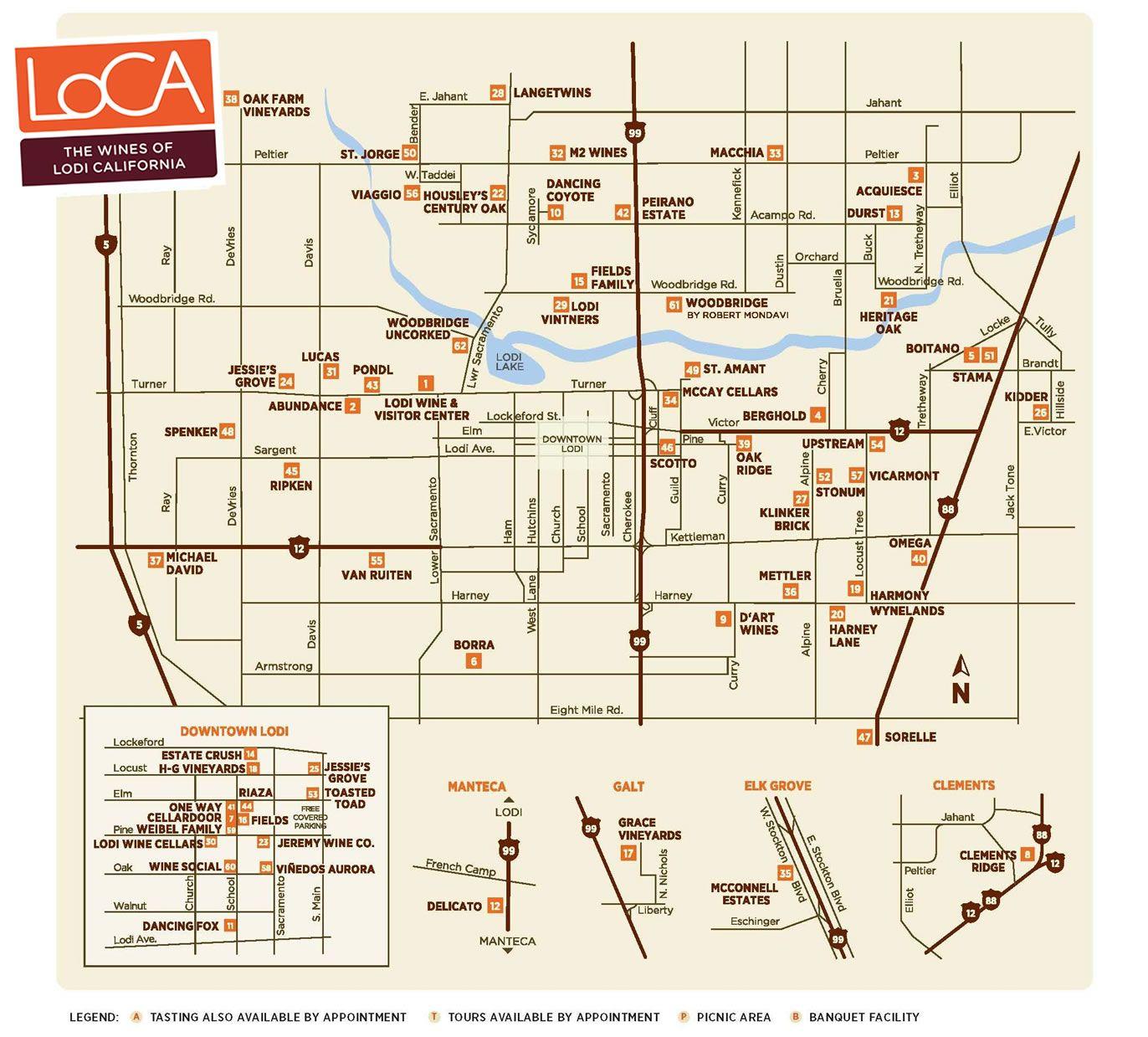 Wine Trail Map 171 Lodi Wine Wine Lovers Travel
