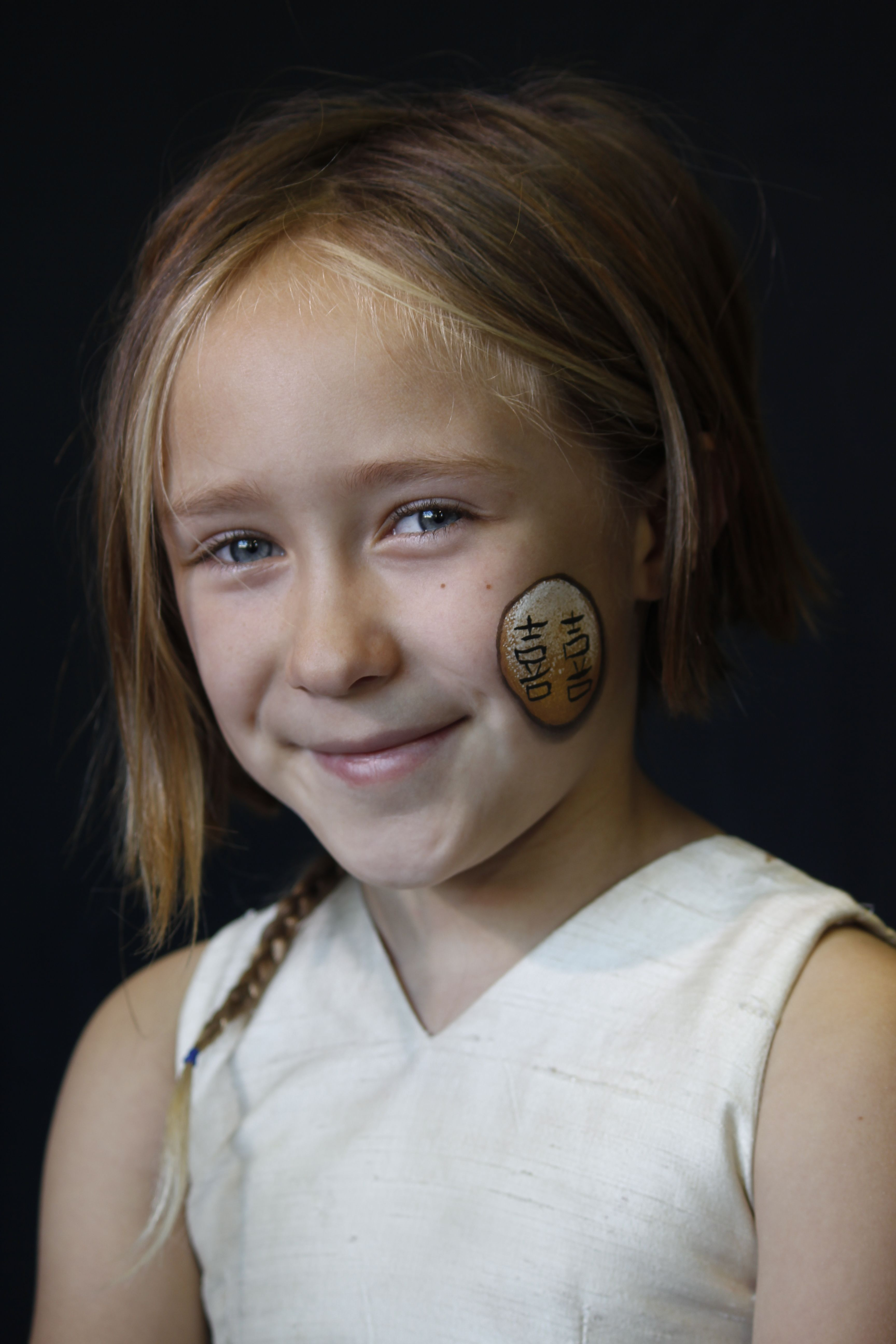 Adorable Little Girl Models A Shuang Xi Design A Chinese Symbol For
