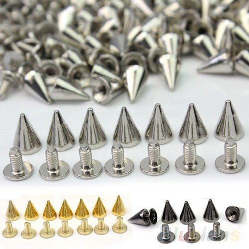 100-PCS-Trendy-10MM-Silver-Spots-Cone-Screw-Metal-Studs-Rivet-Bullet-Spikes-BGBU