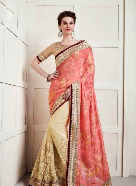Peach Cream Latest Indian Half Saree For Wedding Reception