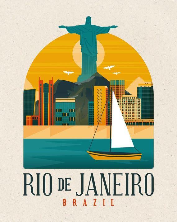 Rio De Janeiro Art Print Brazil Poster Latin America Poster | Etsy