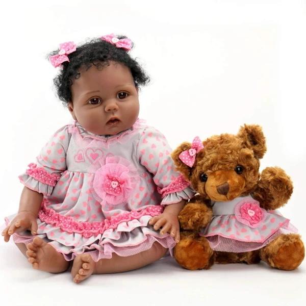 "Huggable 20/"" Reborn Baby Boy Doll Black Skin African American Doll Toddler"