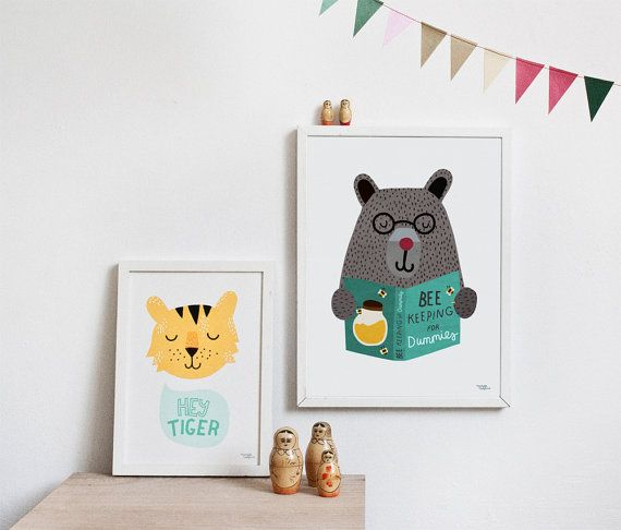 Tiger and bear poster for kids room by Michelle Carlslund Affiche