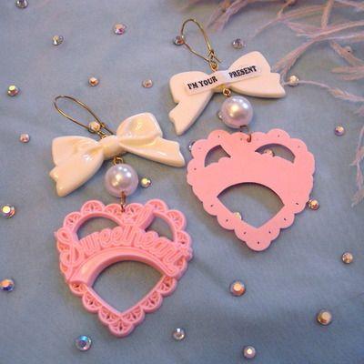 sweetheart earrings by imyourpresent