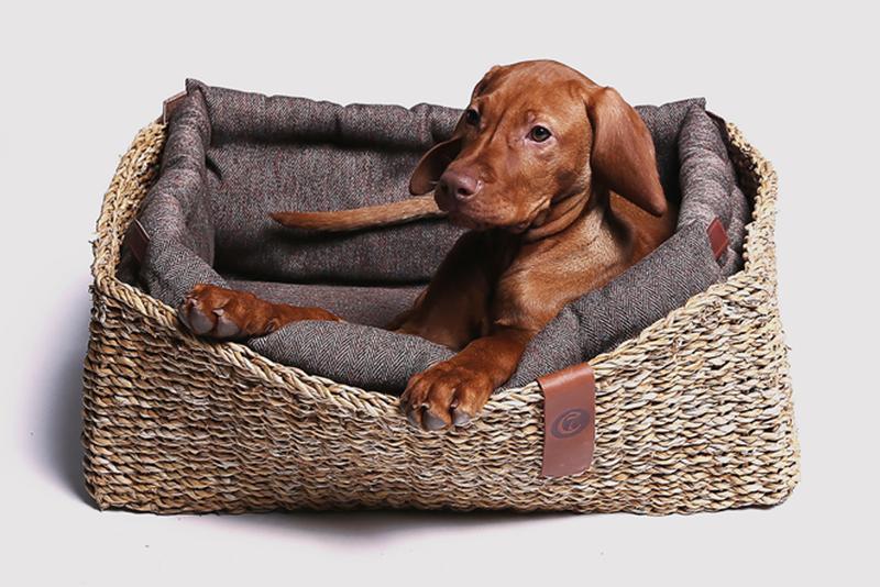 Dog bed hideaway herringbone brown Cool dog beds