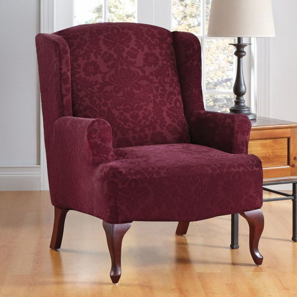 Surprising Awesome Red Burgundy Velvet Wingback Chair Cover With Machost Co Dining Chair Design Ideas Machostcouk
