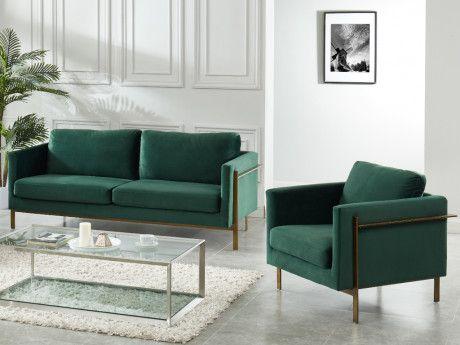 Canape 3 Places Barou En Velours Bleu Nuit Products En 2019