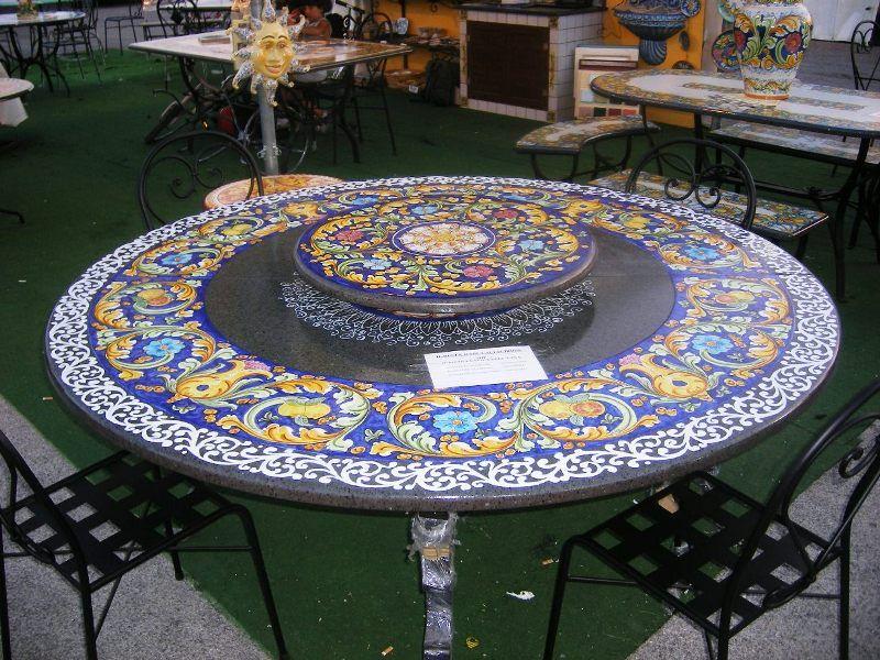 Tavoli Da Giardino Ceramica Caltagirone.Ceramiche Caltagirone Tavolo Giardino Ceramiche Tavolo