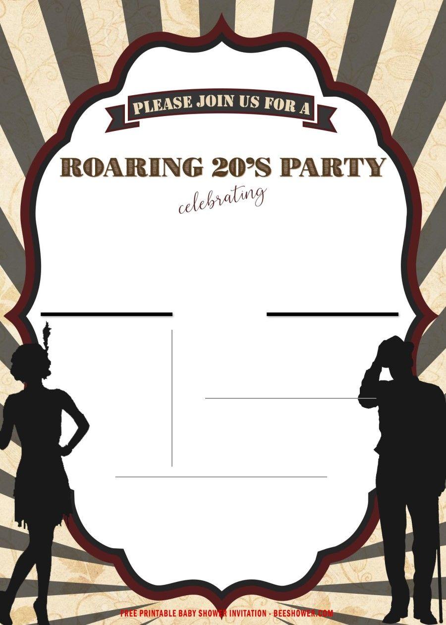 Free Printable Roaring Party Invitation Templates 1920s Party Invitations Party Invite Template Party Invitations Printable