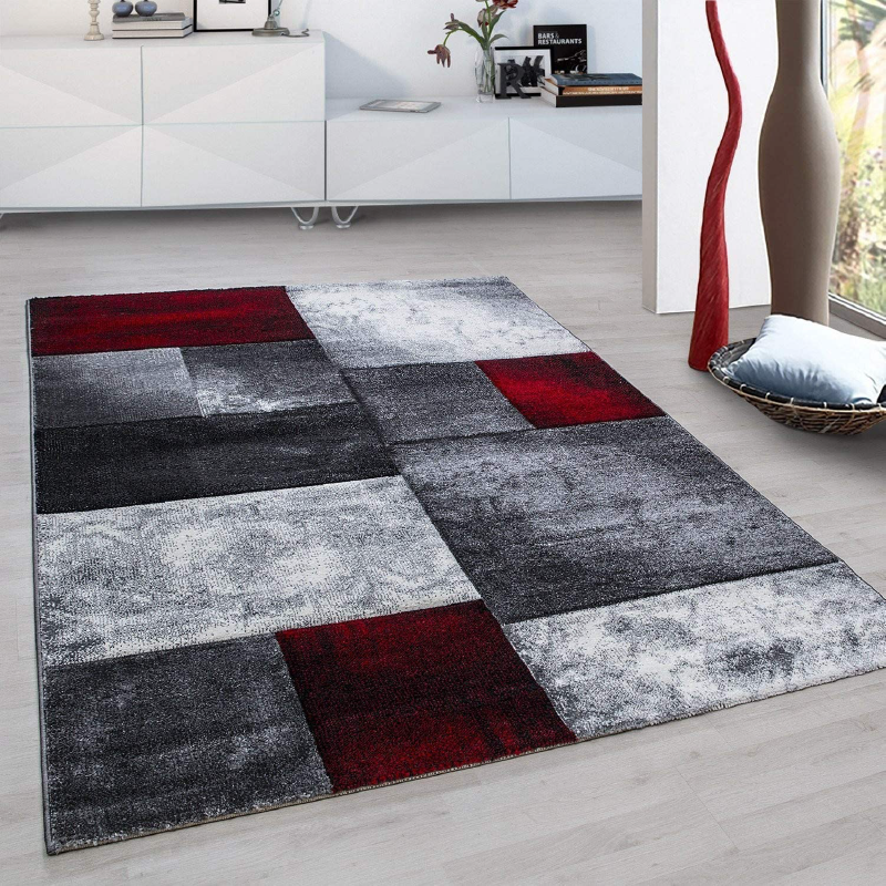 Photo of Washed Red Checked Abstract Rug – Hawaii – 80×150 cm (2ft7x 4ft11)