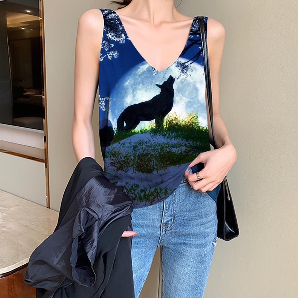 Photo of Wolf Tank Top Women Animal Anime Clothes Anime Funny Top Moon Vest Print Flower Tank Tops Casual – S
