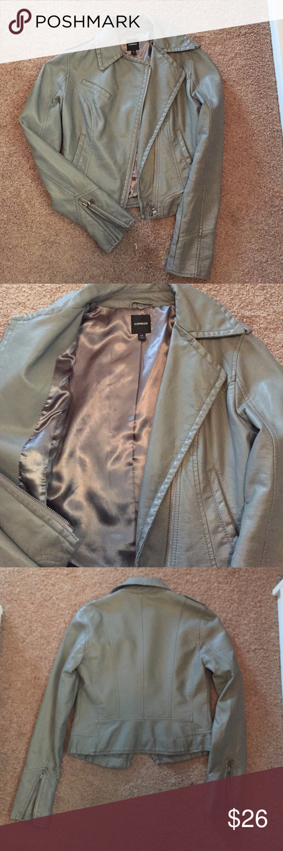 Grey leather jacket, Express, XS Good condition Express Jackets & Coats