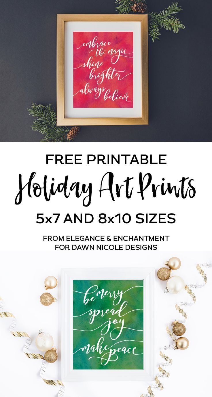 Free printable holiday art prints that can be used to decorate your home for Christmas, or as an easy gift! These watercolor-styled designs are available in 5x7 and 8x10 downloads. // From Elegance & Enchantment for Dawn Nicole Designs