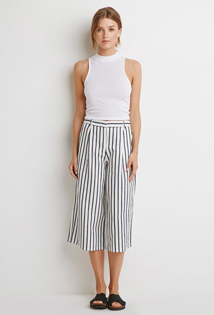 d2e597a110885 Striped Linen-Blend Culottes