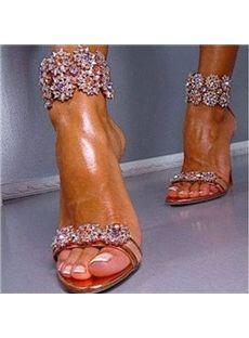 3f9a0fc96 Stylish White Rhinestone Ankle Strap High Heel Sandals - Shoespie ...