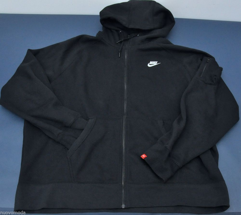2ee6bdfdc205 NIKE AW77 Black Fleece Longsleeve Zip-Up Hoodie with Sleeve pocket Size 3XL  XXXL  Nike  Hoodie
