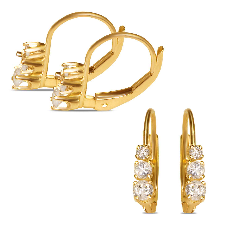 Ebay NissoniJewelry presents - Ladies 1/4cttw 3 stone Lever back Earrings    Model Number:EV1329E-Y455    http://www.ebay.com/itm/Ladies-1-4cttw-3-stone-Lever-back-Earrings/321747799721
