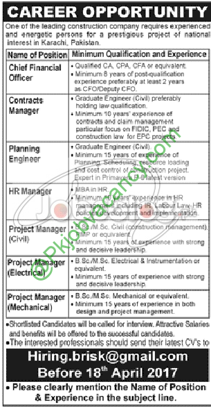 Construction Company Karachi Jobs Apply Before Th April