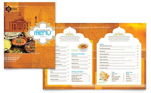 Indian Restaurant Menu Template by @StockLayouts Graphic Design - microsoft word menu templates