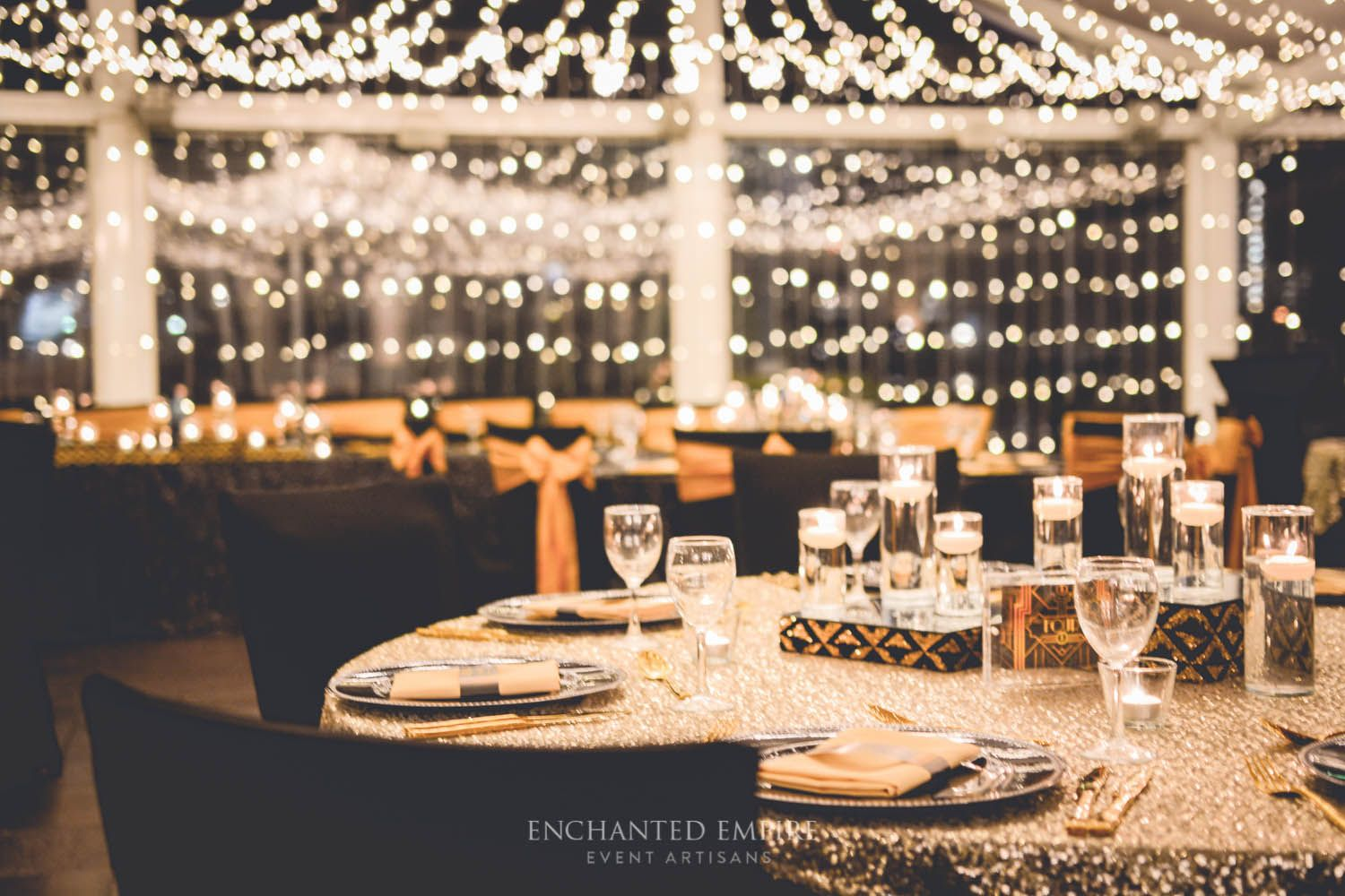 Great gatsby fairylight canopy sequin linen gold cutlery art great gatsby wedding styling by enchanted empire event artisans brisbane qld junglespirit Image collections