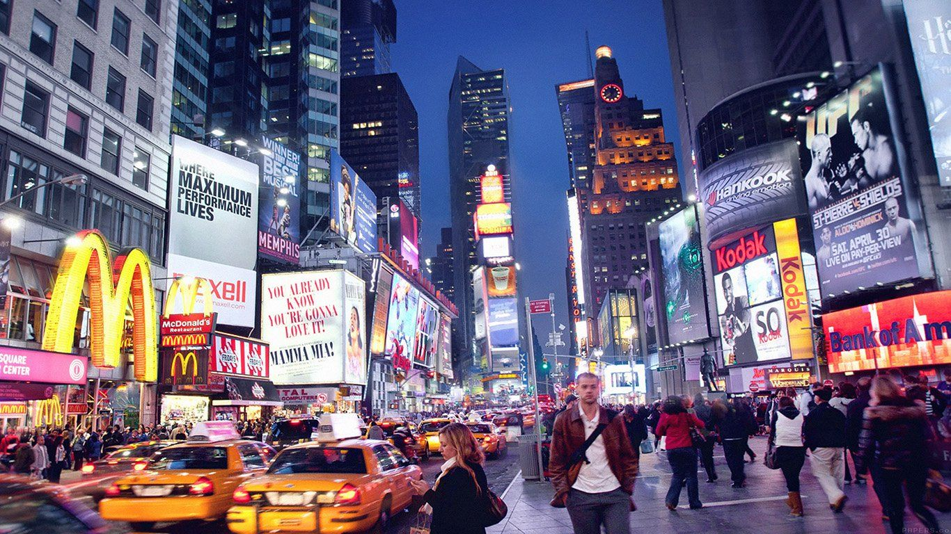 Mn64 New York Street Night City New York Wallpaper Times Square New York Night
