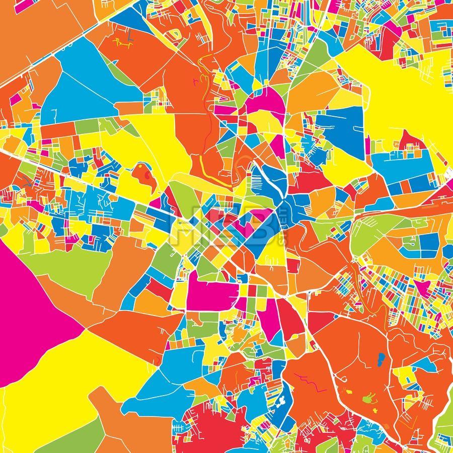 Rawalpindi Streets: Rawalpindi, Pakistan, Colorful Vector Map