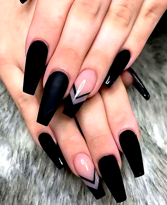 25 matte black coffin nail ideas trend in cool 15 in 2020 ...