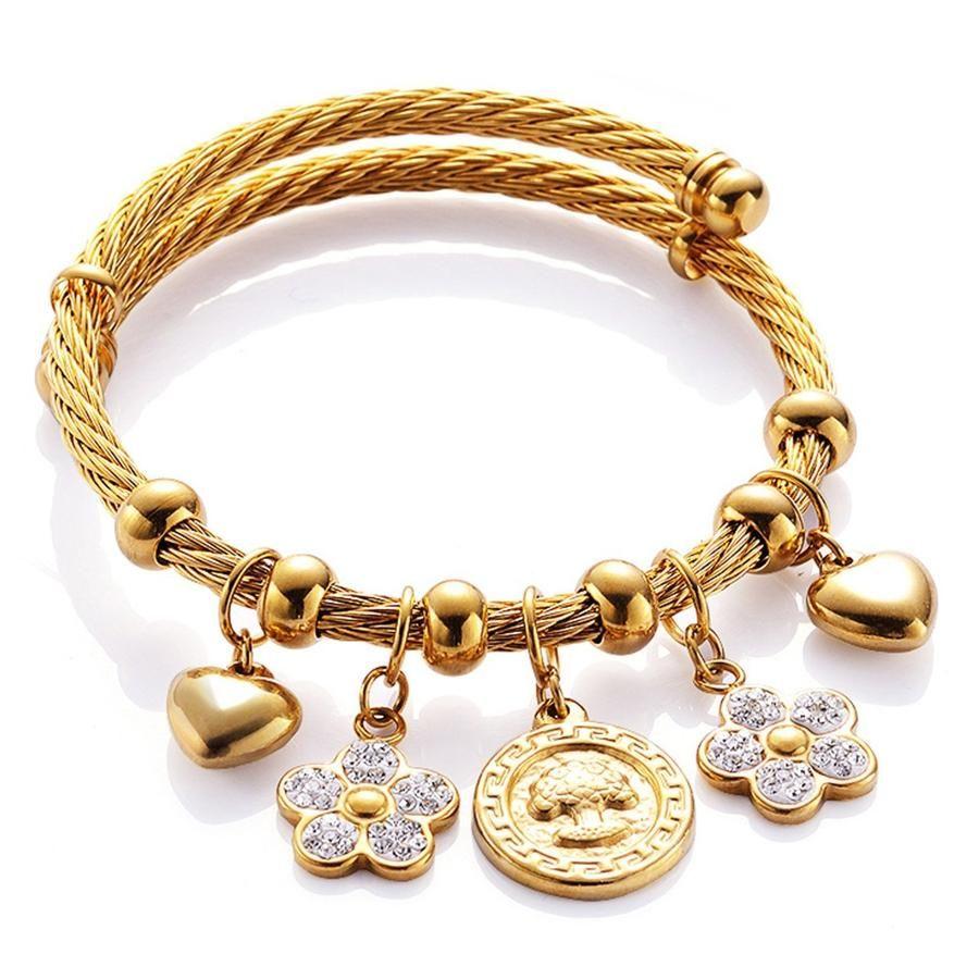 Larissa pendant charm rope bangle bracelet in gold pinterest