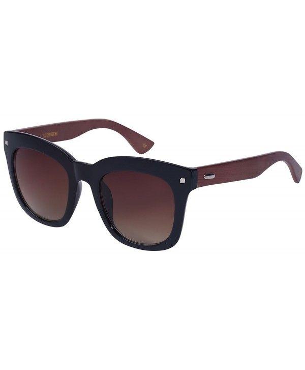 a6eb94abf584f Bamboo Horned Rim Sunglasses with Gradient Lens 32098BM-AP - Black ...