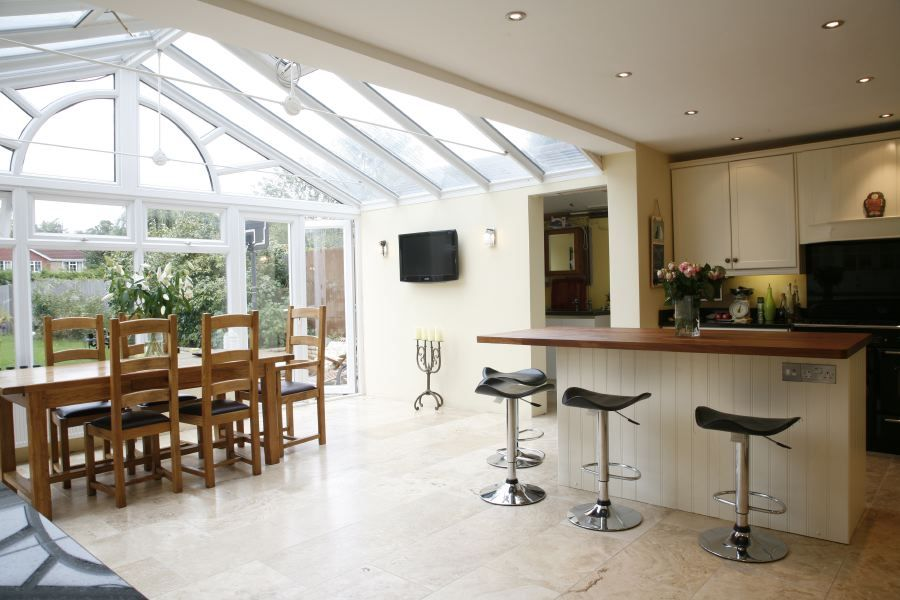 Kitchen living room sun room google search home for Conservatory dining room design ideas