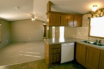 single wide mobile home interiors | looking from the kitchen into