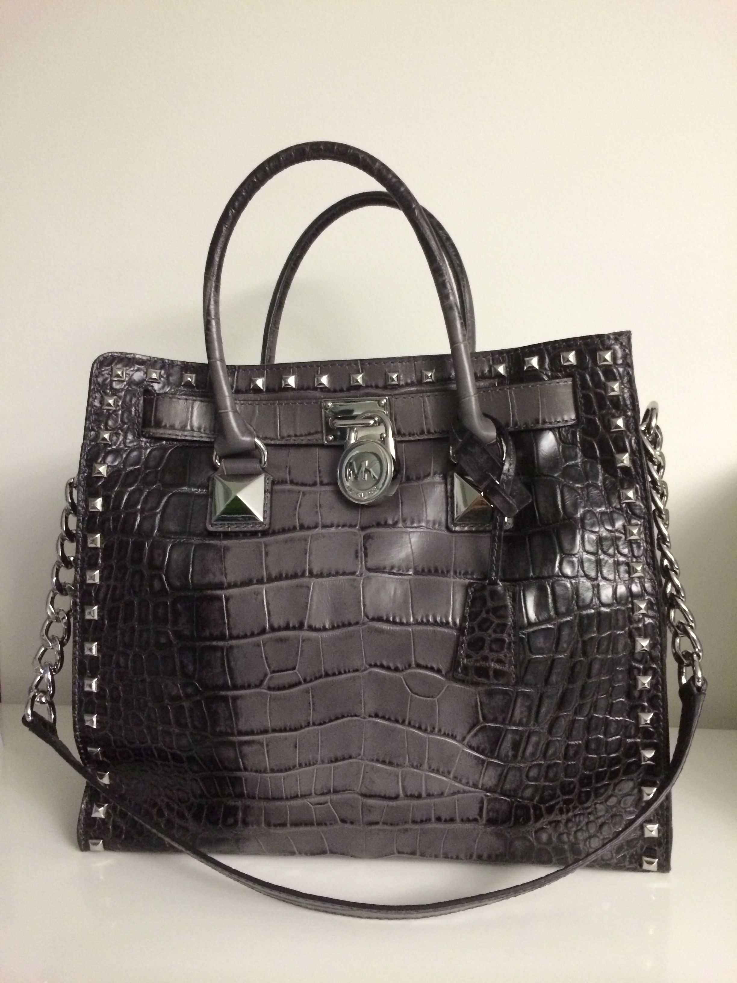 b28c45ae8539a My new Michael Kors Large Hamilton Crocodile-Embossed Tote Grey degrade  crocodile-embossed leather with silver color stud trim