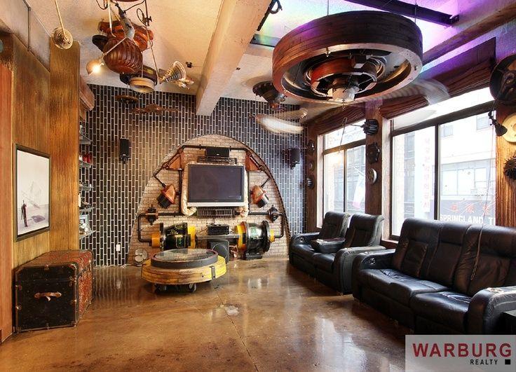 Cool Steampunk Bedroom Interior Decorating Design Ideas Bedrooms - Steampunk living room