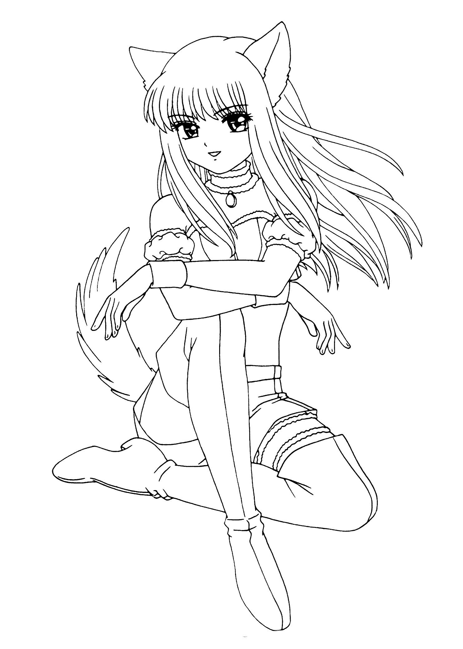 Anime Cat Girl Coloring Page Anime Cat Coloring Pages Of Anime Cat Girl Coloring Page In 2020 Anime Wolf Girl Princess Coloring Pages Disney Princess Coloring Pages