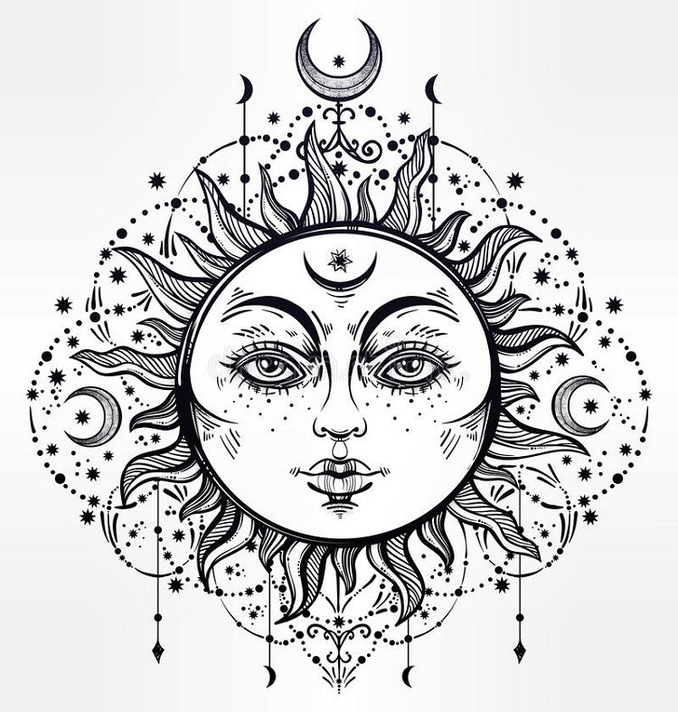 Bohemian Sun Coloring Pages Sun And Moon Drawings Outline Drawings Sun Drawing
