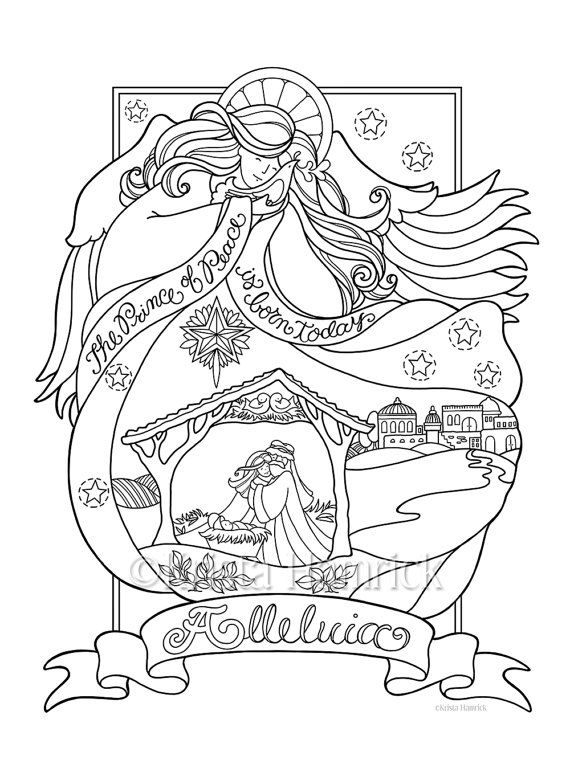 Story of the Nativity coloring page in three by KristaHamrick ...